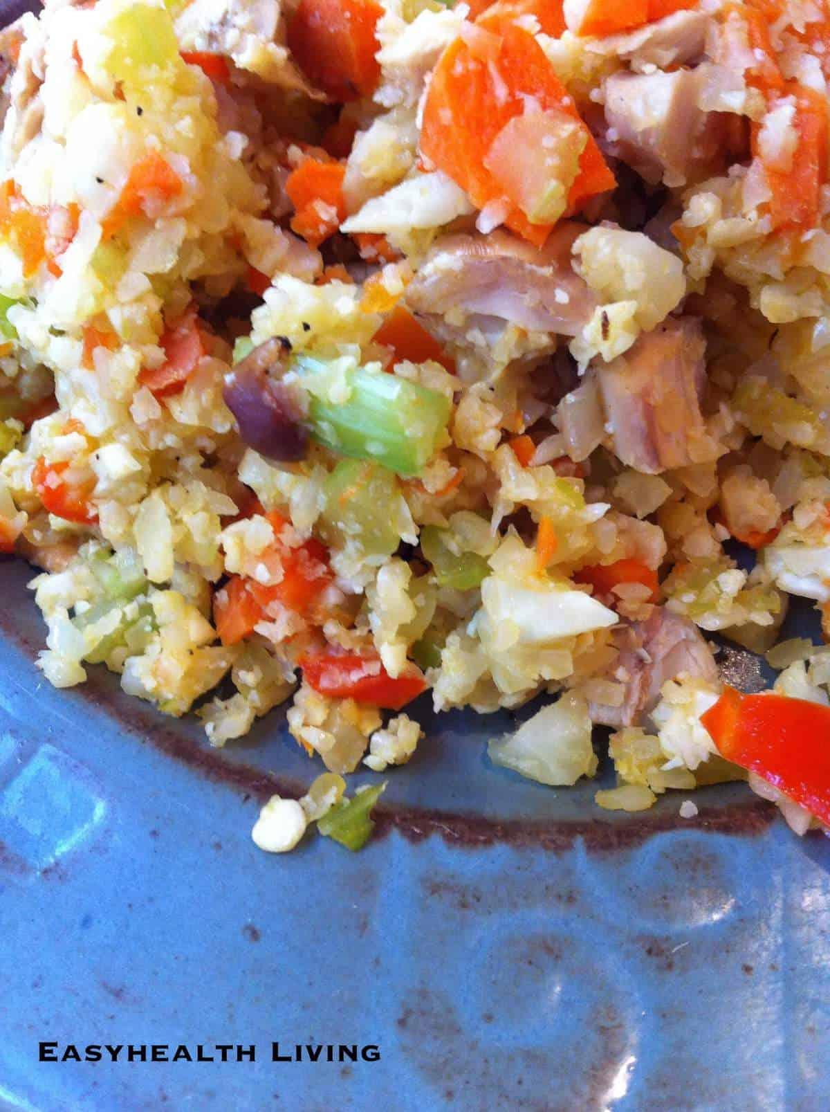 Low Carb Stir Fried Cauliflower Rice with Turkey