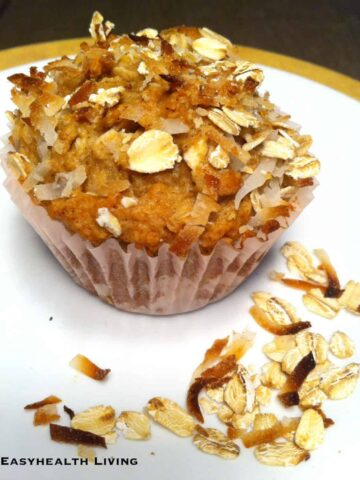 oat and flax muffin on white plate