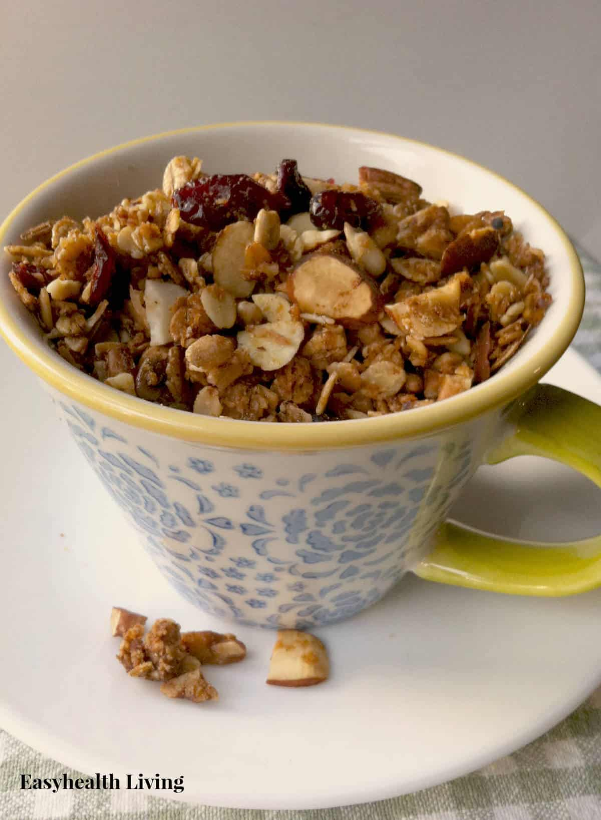 A delicious granola made of all your favorite nuts and seeds- flavored with cinnamon, honey and brown sugar.  Bake a batch to share!