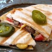 Veggie (and lean beef) Stuffed Quesadillas