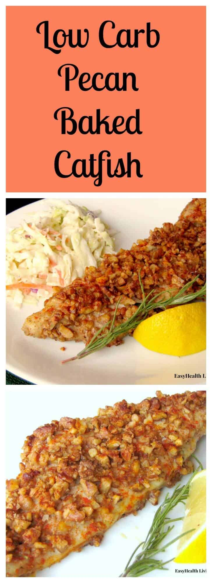 Catfish baked with a batter of pecans and seasonings makes a delicious low carb entree.  Serve with your favorite salad or slaw. #bakedcatfish #lowcarb