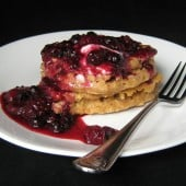 Oatmeal and Greek Yogurt Pancakes with Berry Crush