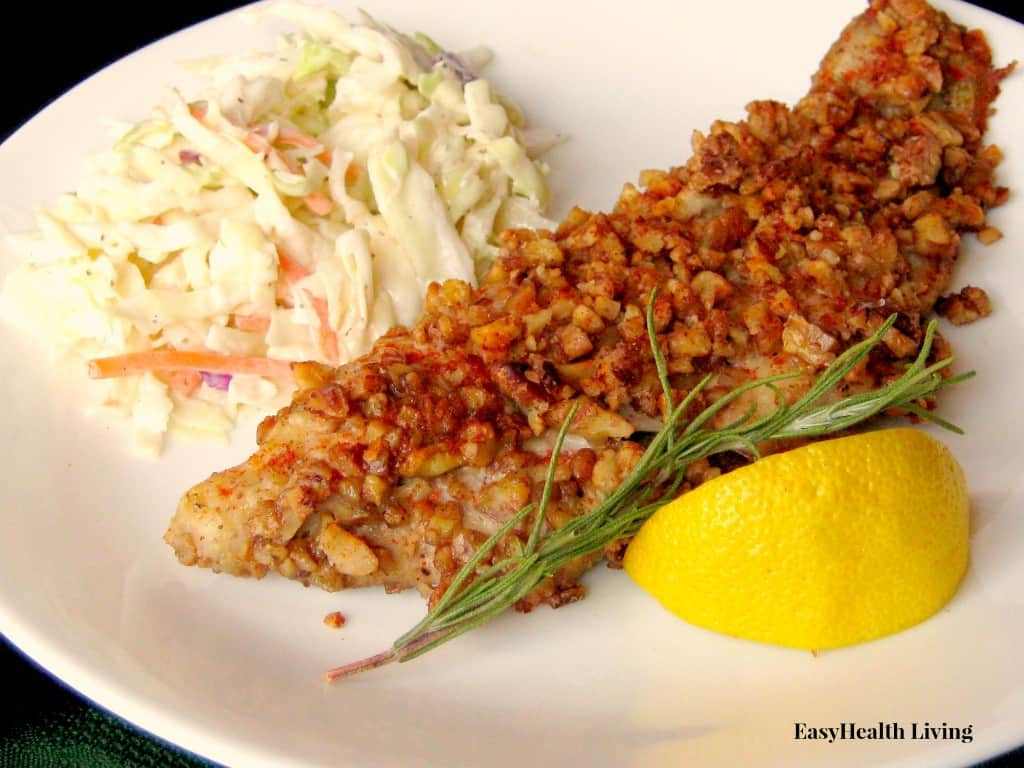 Low Carb Pecan Baked Catfish with Slaw