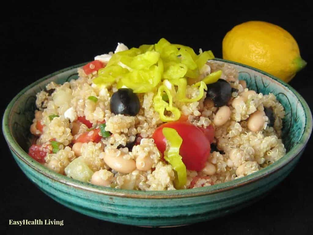 A delicious Greek salad with lots of veggies and Mediterranean flavors!
