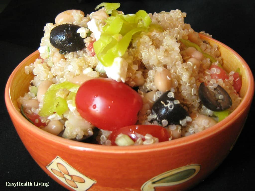Mediterranean Greek Salad recipe with quinoa and cannellini beans for extra protein!