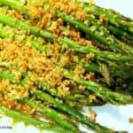 Toasted Quinoa over Asparagus