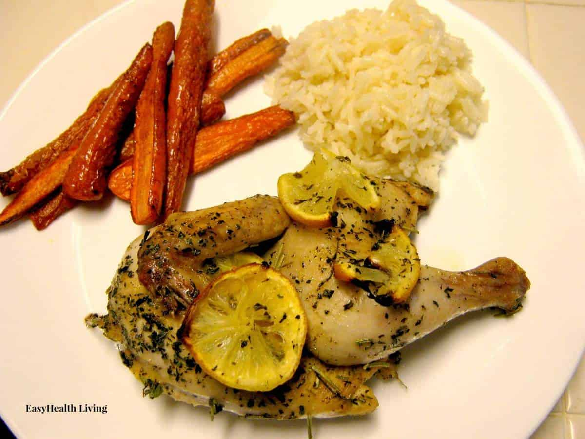 Lemon Herb Game Hen with Baked Carrot Fries