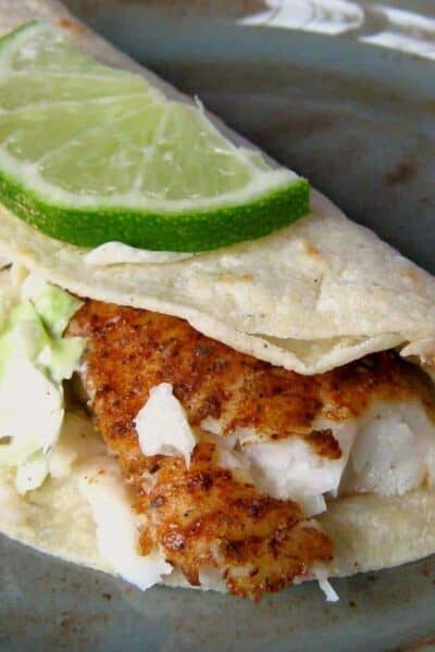 Crunchy Fish Tacos with Caribbean Slaw