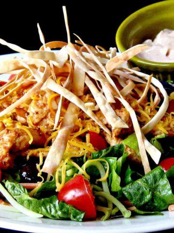 BBQ Chicken and Veggie Crunch Salad on white plate