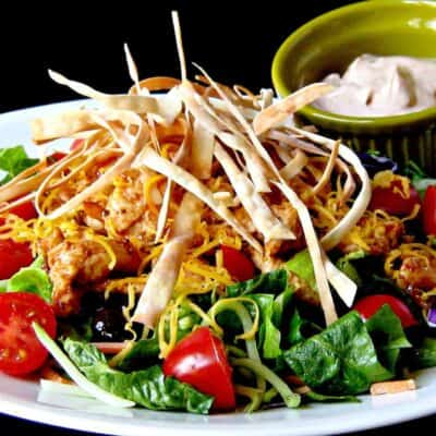 BBQ Chicken and Veggie Crunch Salad on white plate