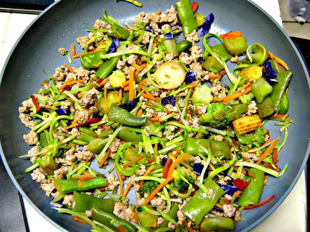 Frozen stir fry veggies with broccoli slaw and lean ground pork