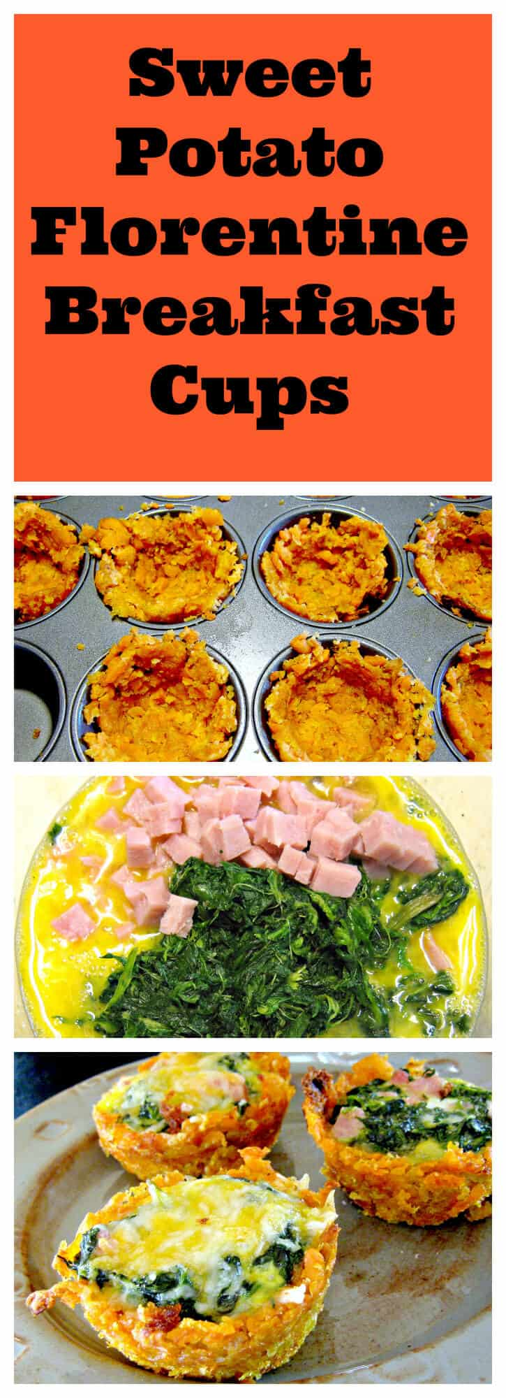 Sweet potato cups filled with ham, spinach and egg make a delicious breakfast or snack.