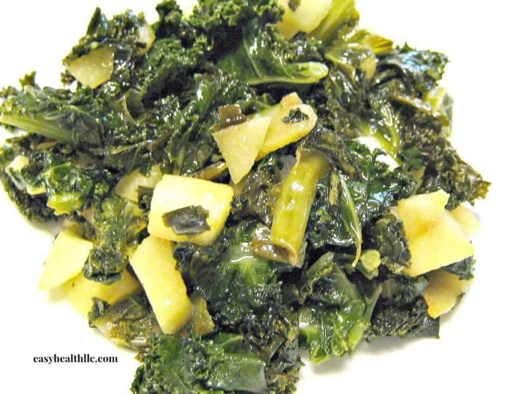 Braised Kale and Diced Apples