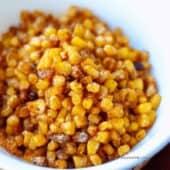 roasted sweet corn close up