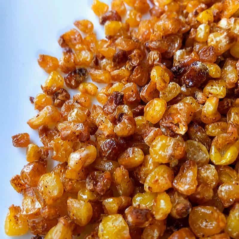 golden roasted corn on plate