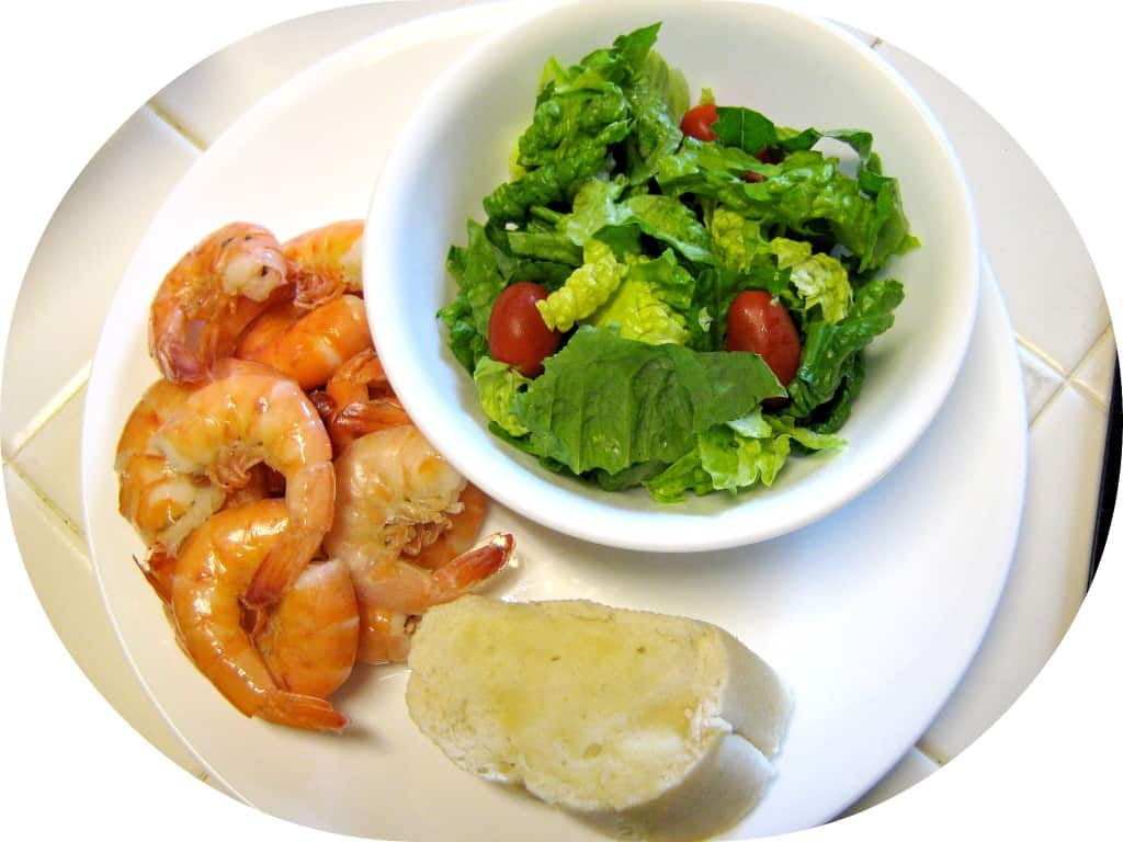 Shrimp = 0 gm, Salad = 5gm, French Bread = 15gm