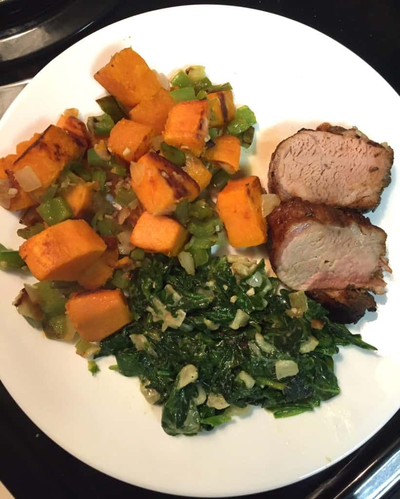 What does 20gm carb look like? 5oz. roasted pork tenderloin- 0gm carb, ½ cup creamed spinach- 0gm carb, ⅔ cup sweet potato hash-20gm carb