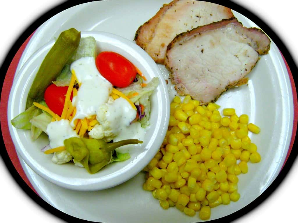 Pork Loin = 0, Corn = 15gm, Salad = 5gm