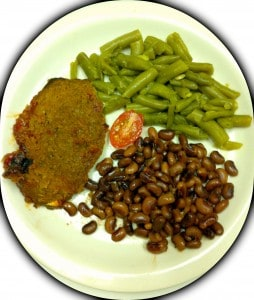 Meatloaf = 3gm, Peas = 15gm, Green Beans = 2gm