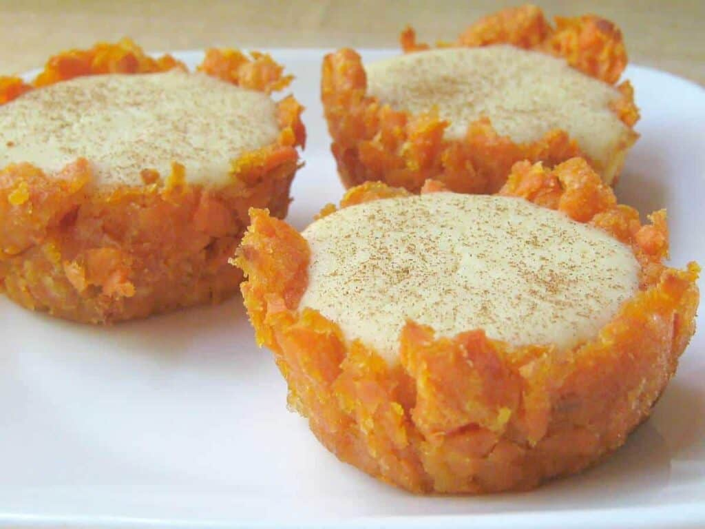 Sweet Potato Crusted Cheesecake Bites
