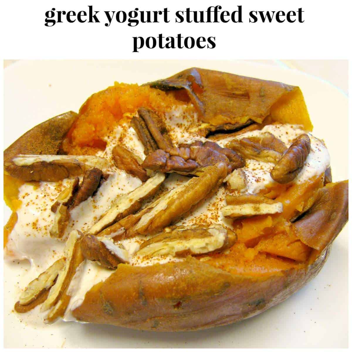 Ever wonder what to put on a sweet potato? Here's your answer! Try a soft and creamy sweet potato topped with lots of spices and yogurt  You will love how the spices accent the sweet potato and kick it up a notch- a family favorite. #sweetpotato