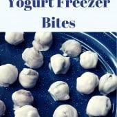 blueberry yogurt bites on blue plate
