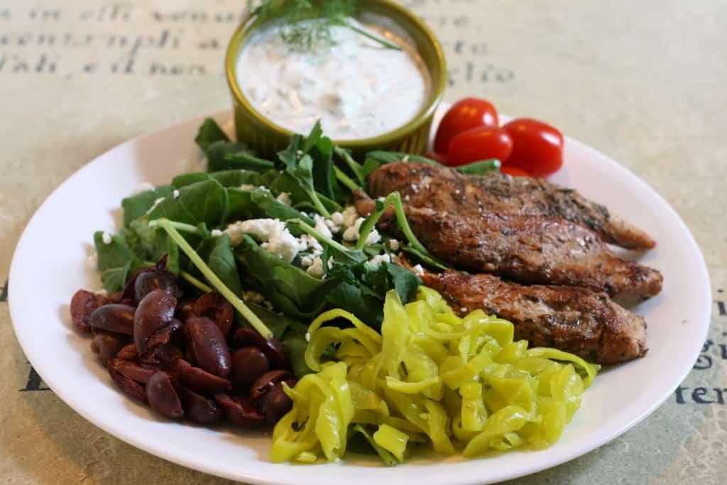 Easy Greek Chicken served with Greek Yogurt Tzatziki Dip