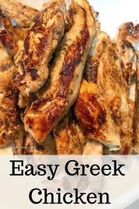 greek chicken strips on plate