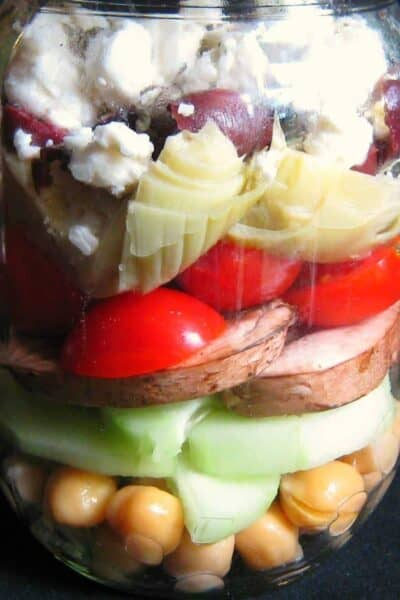 Layered Mediterranean Salad in a Mason Jar
