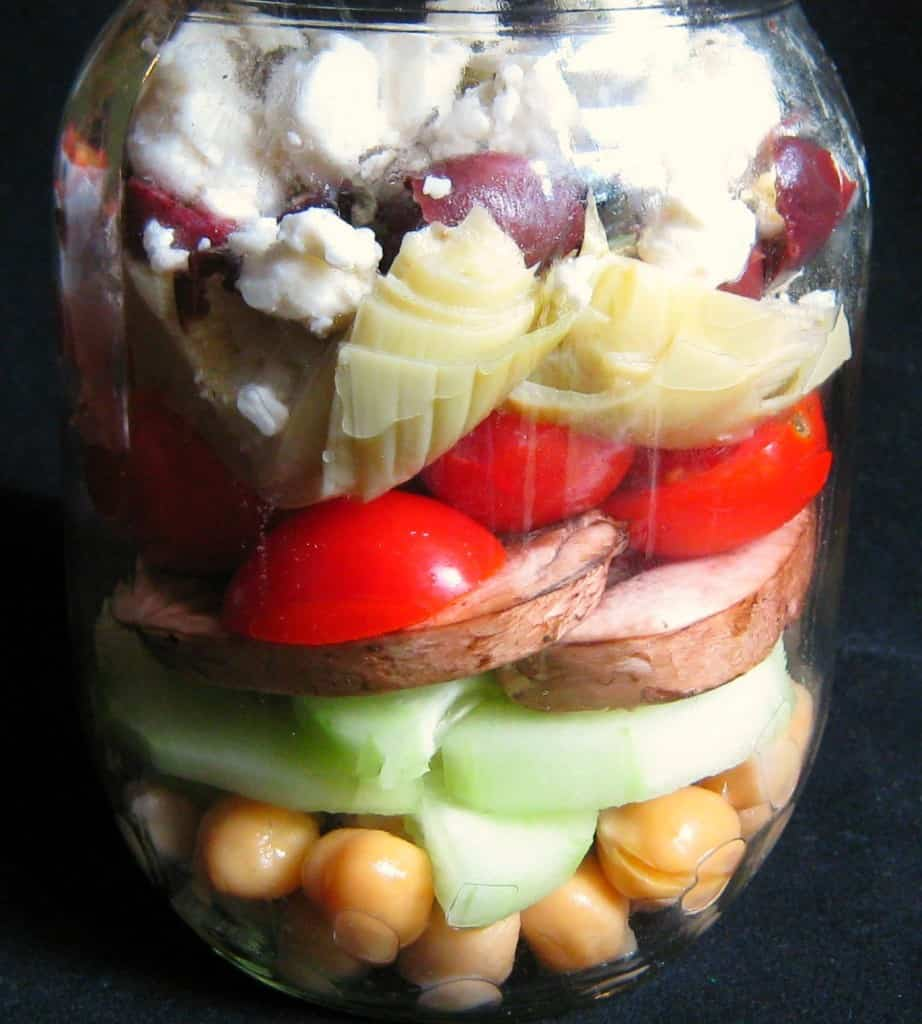 Mediterranean Salad layered in clear jar