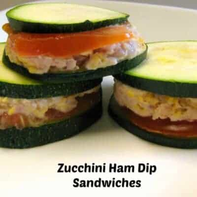 zucchini slices filled with ham dip