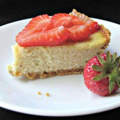 Easy Berry Cheesecake on white plate