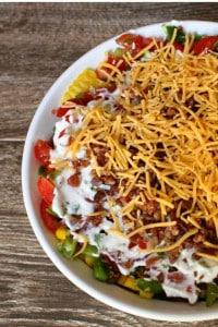 Cornbread Salad in white dish