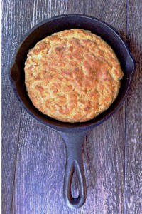 small skillet with cornbread