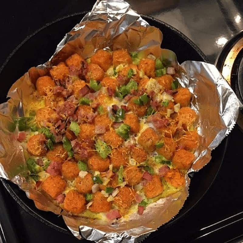 sweet potato breakfast skillet ready for oven