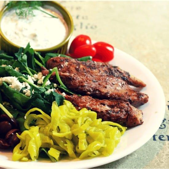 Easy Greek Chicken with Greek Yogurt Tzatziki Dip
