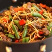 Quick Beef Lo Mein close up in wok