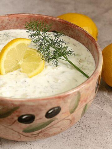 Greek Yogurt Tzatziki DIp in pottery bowl