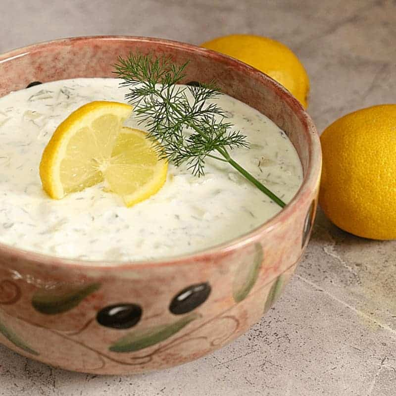Greek Yogurt Tzatziki DIp in pottery bowl