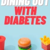 fast food hamburger, french fries and drink with blue background and text dining out with diabetes