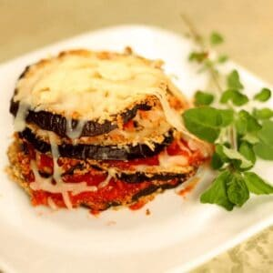 lean eating eggplant parmesan stack