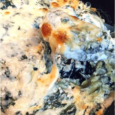 Spinach Artichoke Dip Close Up- SO rich & creamy! 8gm net carbs/serving