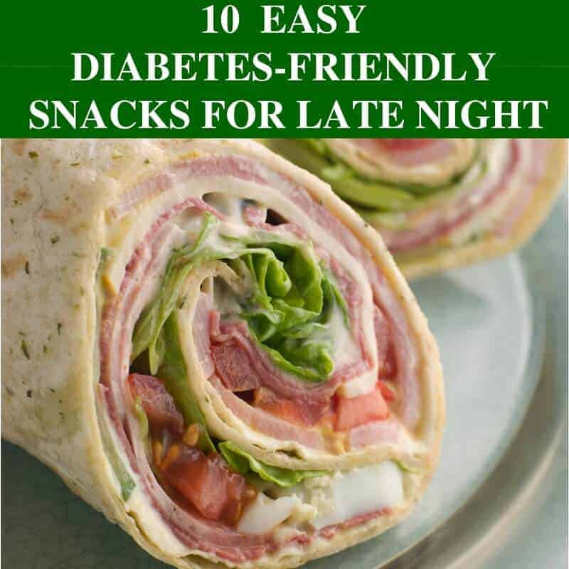 tortilla sandwich with diabetes friendly snack text