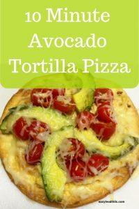 avocado and tomato topped tortilla pizza