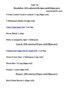 sample meal plan 45gm carb