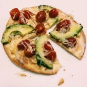 10 minute avocado tortilla pizza