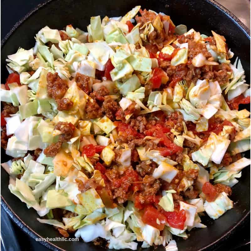 uncooked cabbage roll filling in skillet