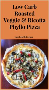 Phyllo Pizza with Roasted Veggies and Ricotta on white plate