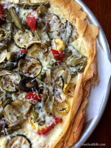 Low Carb Phyllo Pizza with Roasted Veggies and Ricotta