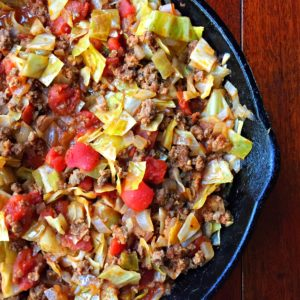 Skillet Unstuffed Cabbage Roll mixture in black skillet